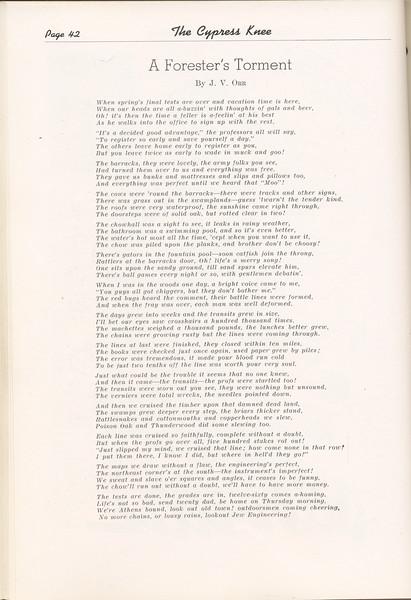 "The Cypress Knee, 1949, ""A Forester's Torment"", J. V. Orr, pg. 42"