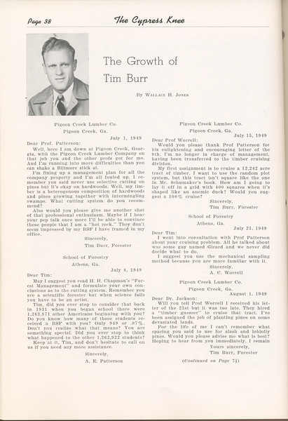 """The Cypress Knee, 1949, """"The Growth of Tim Burr"""", Wallace H. Jones, pg. 38"""
