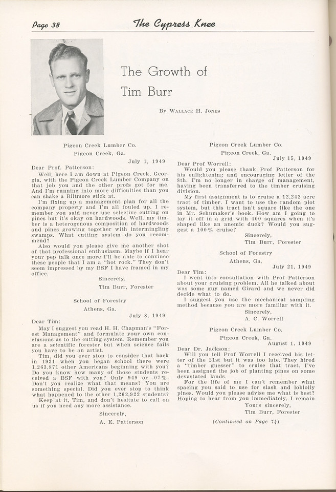 "The Cypress Knee, 1949, ""The Growth of Tim Burr"", Wallace H. Jones, pg. 38"