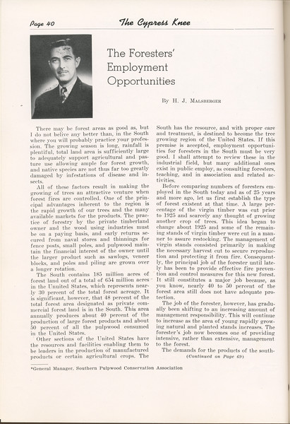 """The Cypress Knee, 1949, """"The Foressters' Employment Opportunities"""", H. J. Malsberger, pg. 40"""
