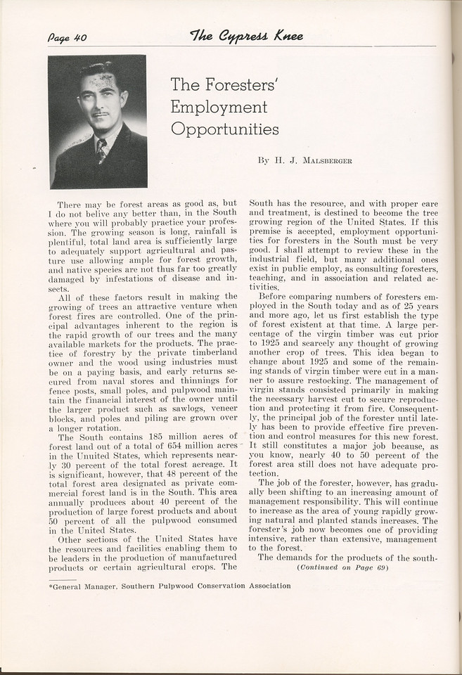 "The Cypress Knee, 1949, ""The Foressters' Employment Opportunities"", H. J. Malsberger, pg. 40"