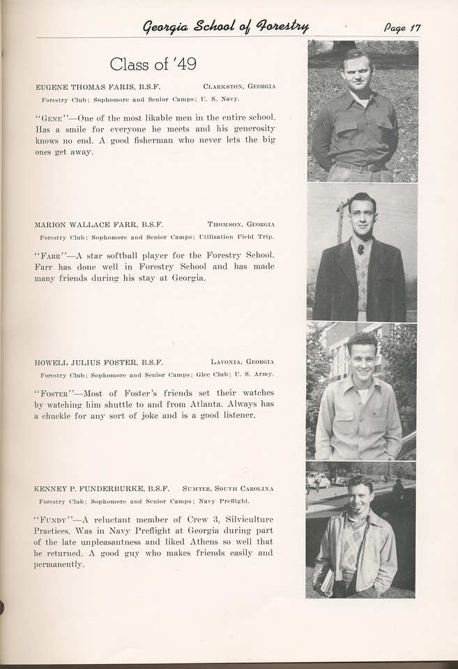 "The Cypress Knee, 1949, ""Class of '49"", Eugene Thomas Faris, Marion Wallace Farr, Howell Julius Foster, Kenney P. Funderburke, pg. 17"