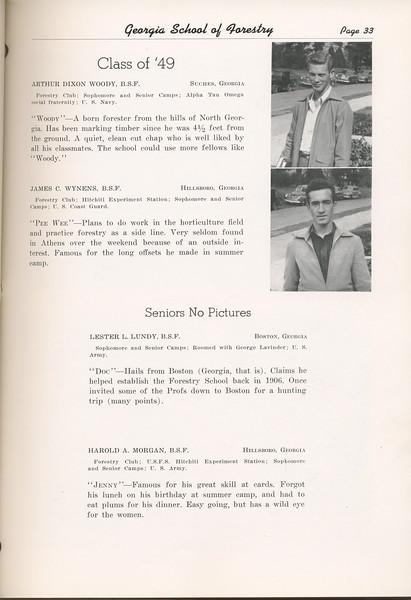 "The Cypress Knee, 1949, ""Class of '49"", Arthur Dixon Woody, James C. Wynens, Lester L. Lundy, Harold . Morgan, pg. 33"