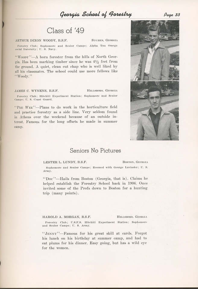 "The Cypress Knee, 1949, ""Class of '49"", Arthur Dixon Woody, James C. Wynens, Lester L. Lundy, Harold . Morgan, pg. 33"