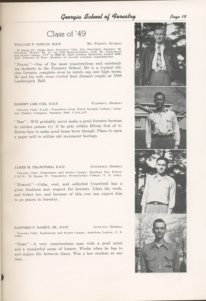 "The Cypress Knee, 1949, ""Class of '49"", William F. Cowan, Robert Lee Cox, James M. Crawford, Sanford P. Darby, pg. 15"