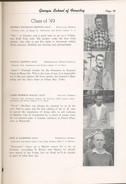 "The Cypress Knee, 1949, ""Class of '49"", Beverly Franklin Griffin, Floyd S. Griffin, James Freeman Hagan, John E. Hammond, pg. 86"