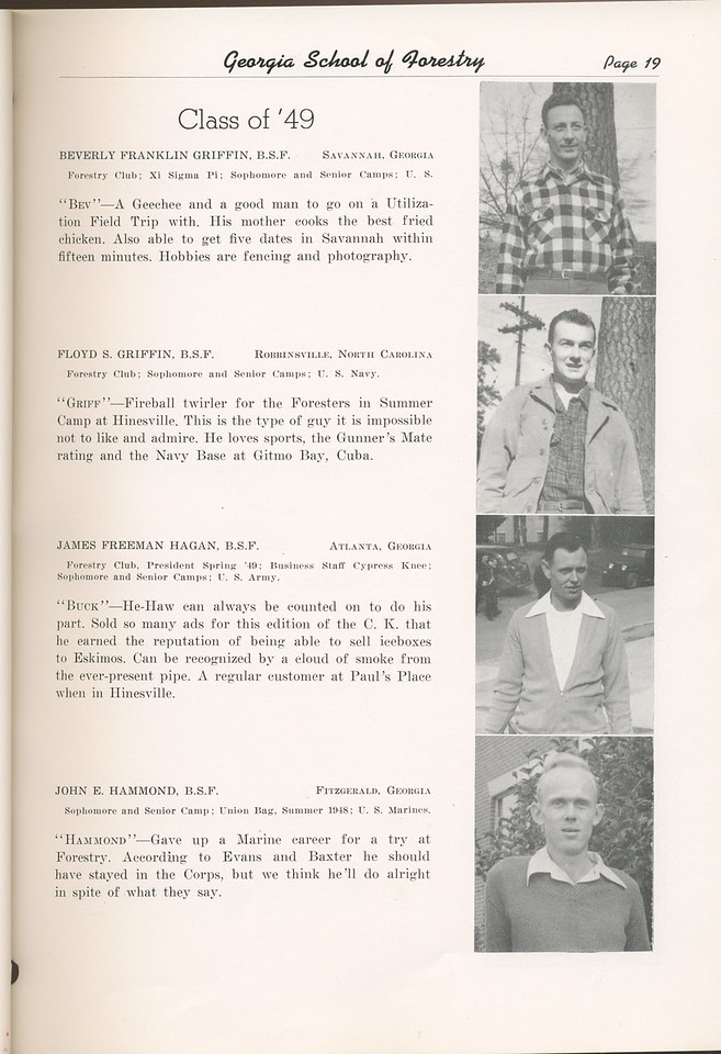 "The Cypress Knee, 1949, ""Class of '49"", Beverly Franklin Griffin, Floyd S. Griffin, James Freeman Hagan, John E. Hammond, pg. 86"