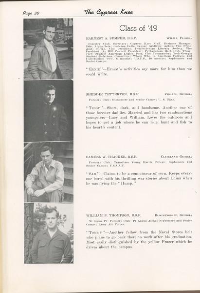 "The Cypress Knee, 1949, ""Class of '49"", Earnest A. Sumner, Sheddie Tetterton, Samuel W. Thacker, William P. Thompson, pg. 30"