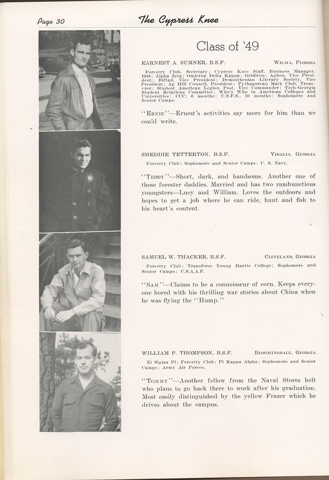 "The Cypress Knee, 1949, ""Class of '49"", Earnest A. Sumner, Sheddie Tetterton, Samuel W. Thacker, William P. Thompson, pg. 30"