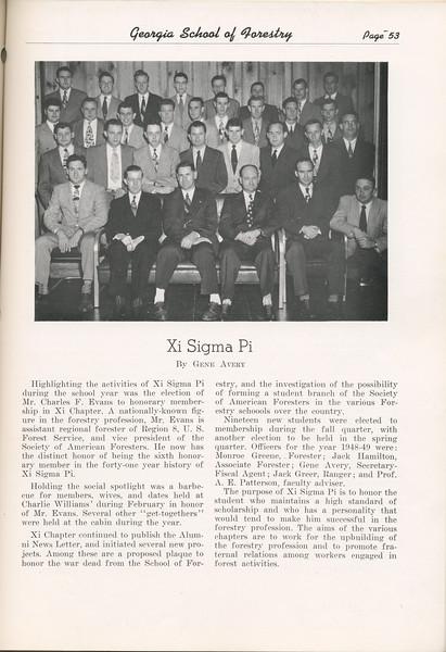 The Cypress Knee, 1949, Xi Sigma Pi, Gene Avery, pg. 53