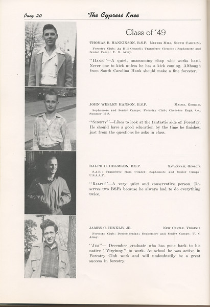 "The Cypress Knee, 1949, ""Class of '49"", Thomas B. HAnkinson, John Wesley Hanson, Ralph D. Helmken, James C. Hinkle, pg. 20"