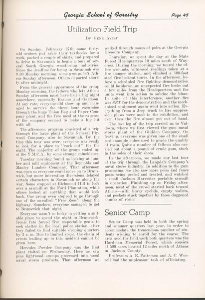 "The Cypress Knee, 1949, ""Utilization Field Trip"", Gene Avery, ""Senior Camp"", pg. 45"