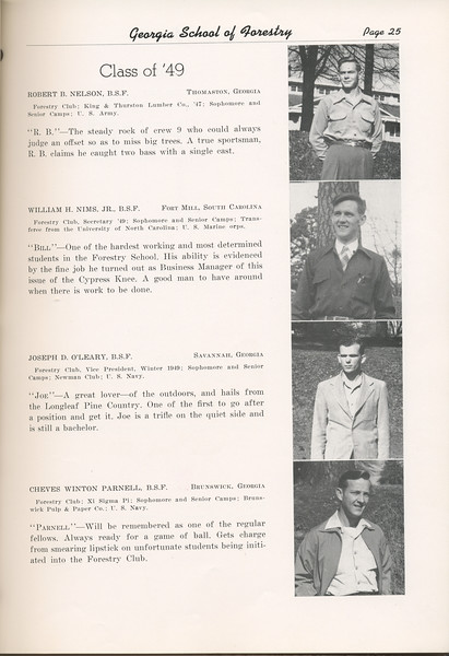 """The Cypress Knee, 1949, """"Class of '49"""", Robert B. Nelson, William H. Nims, Joseph D. O'Leary, Cheves Winton Parnell, pg. 25"""