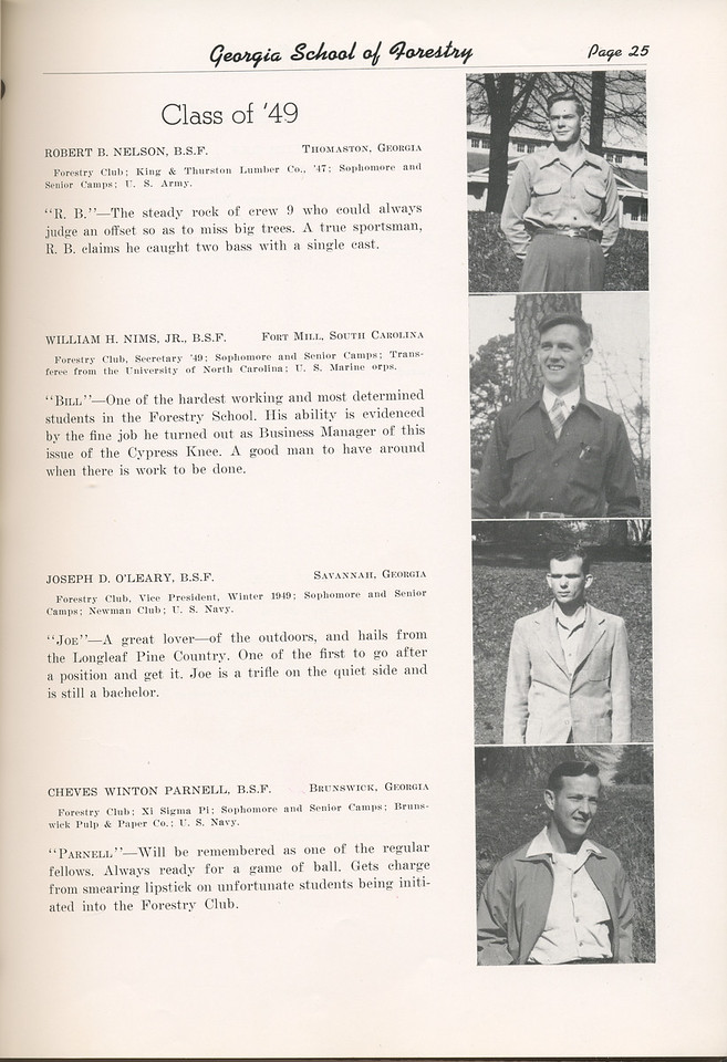 "The Cypress Knee, 1949, ""Class of '49"", Robert B. Nelson, William H. Nims, Joseph D. O'Leary, Cheves Winton Parnell, pg. 25"
