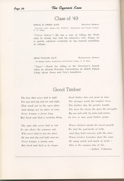 """The Cypress Knee, 1949, """"Class of '49"""", Idwal H. Owen, Jean Taylor, """"Good Timber"""", pg. 34"""