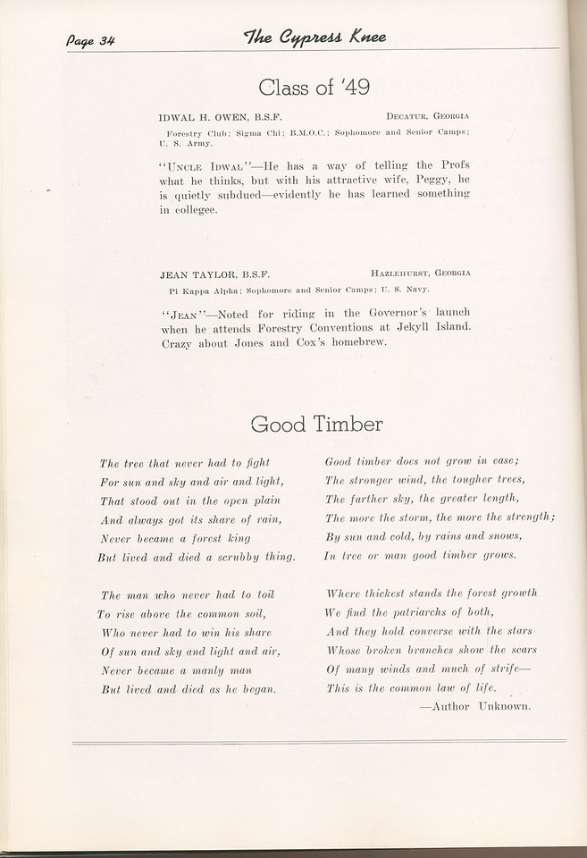 "The Cypress Knee, 1949, ""Class of '49"", Idwal H. Owen, Jean Taylor, ""Good Timber"", pg. 34"