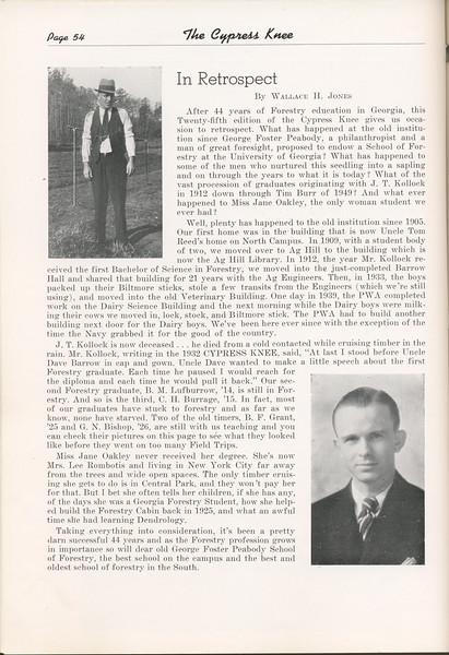 The Cypress Knee, 1949, In Retrospect, Wallace H. Jones, pg. 54