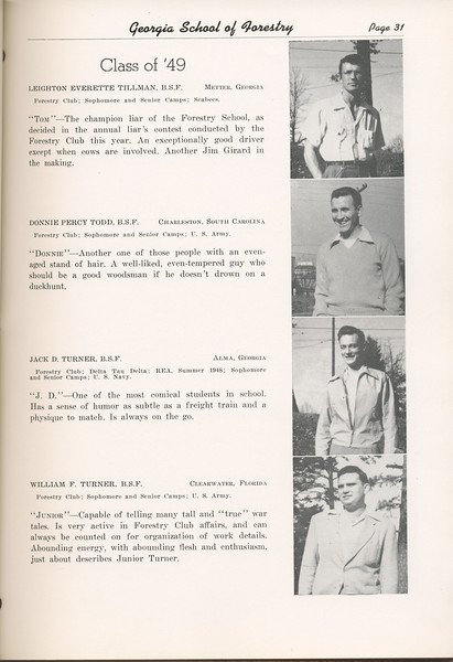 """The Cypress Knee, 1949, """"Class of '49"""", Leighton Everette Tillman, Donnie Percy Todd, Jack D. Turner, William F. Turner, pg. 31"""