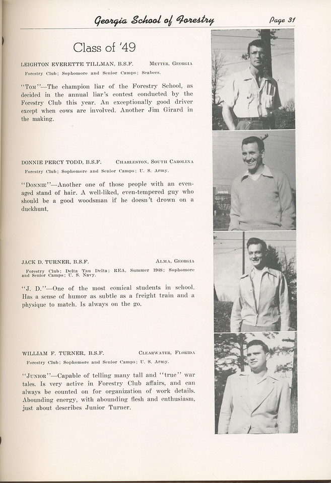 "The Cypress Knee, 1949, ""Class of '49"", Leighton Everette Tillman, Donnie Percy Todd, Jack D. Turner, William F. Turner, pg. 31"