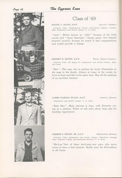 "The Cypress Knee, 1949, ""Class of '49"", Ralph A. Davis, Robert E. Edney, James Harold Evans, George C. Exley, pg. 16"