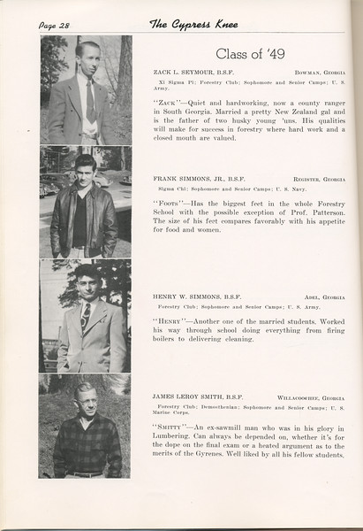 """The Cypress Knee, 1949, """"Class of '49"""", Zack L. Seymour, Frank Simmons, Henry W. Simmons, James Leroy Smith, pg. 28"""