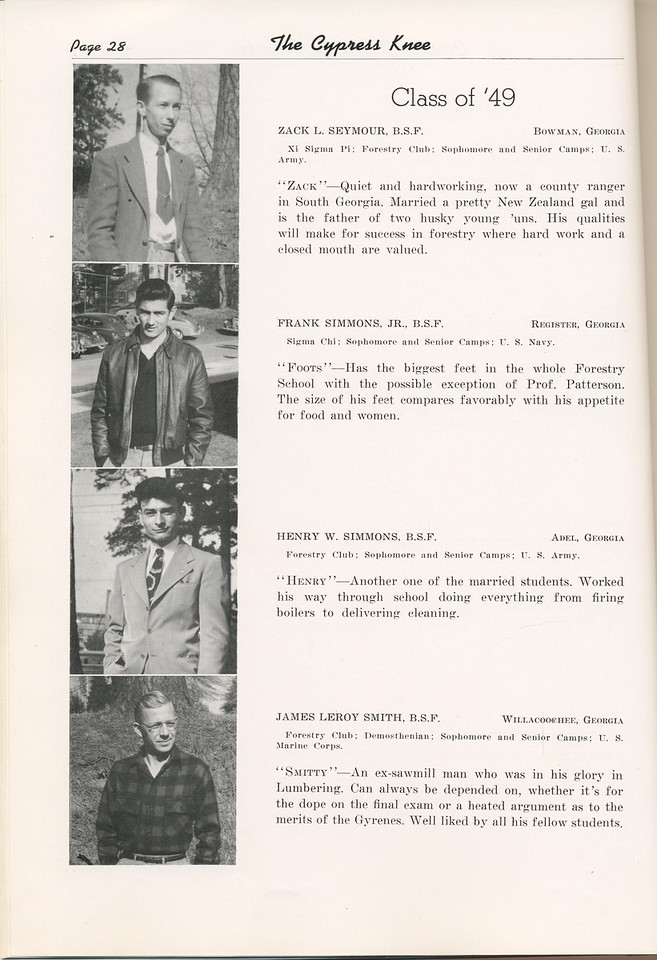 "The Cypress Knee, 1949, ""Class of '49"", Zack L. Seymour, Frank Simmons, Henry W. Simmons, James Leroy Smith, pg. 28"