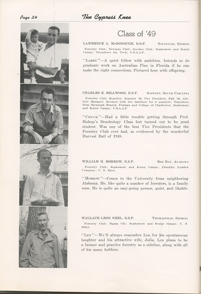 """The Cypress Knee, 1949, """"Class of '49"""", Lawrence A. McDonough, Charles E. Millwood, William H. Morrow, Wallace Leon Neel, pg. 24"""