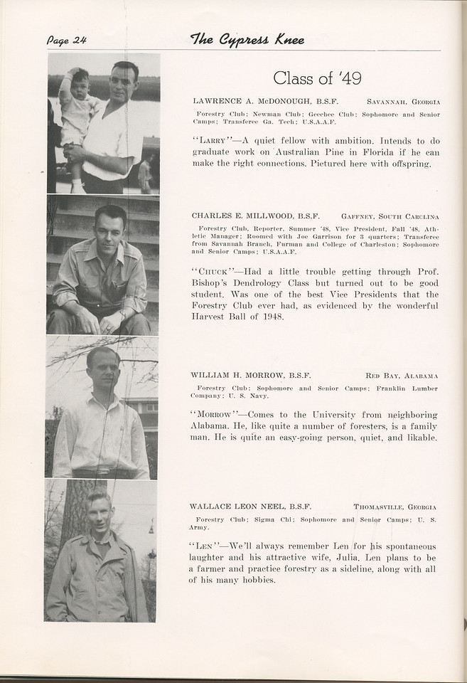 "The Cypress Knee, 1949, ""Class of '49"", Lawrence A. McDonough, Charles E. Millwood, William H. Morrow, Wallace Leon Neel, pg. 24"