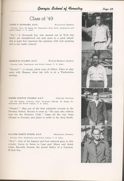 "The Cypress Knee, 1949, ""Class of '49"", James B. Snowden, George M. Stamey, Homer Burton Starks, Walter North Stone, pg. 29"