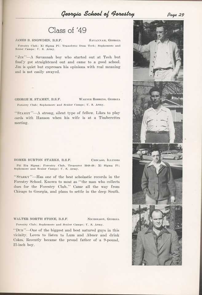 "The Cypress Knee, 1949, ""Class of '49"", James B. Snowden, George M. Stamey, Homer Burton Starks, Walter North Stone, pg. 29"