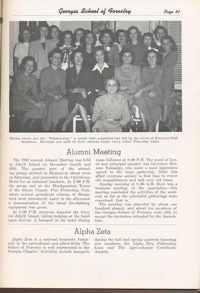 The Cypress Knee, 1949, The Timberettes, Alumni Meeting, Alpha Zeta, pg. 51