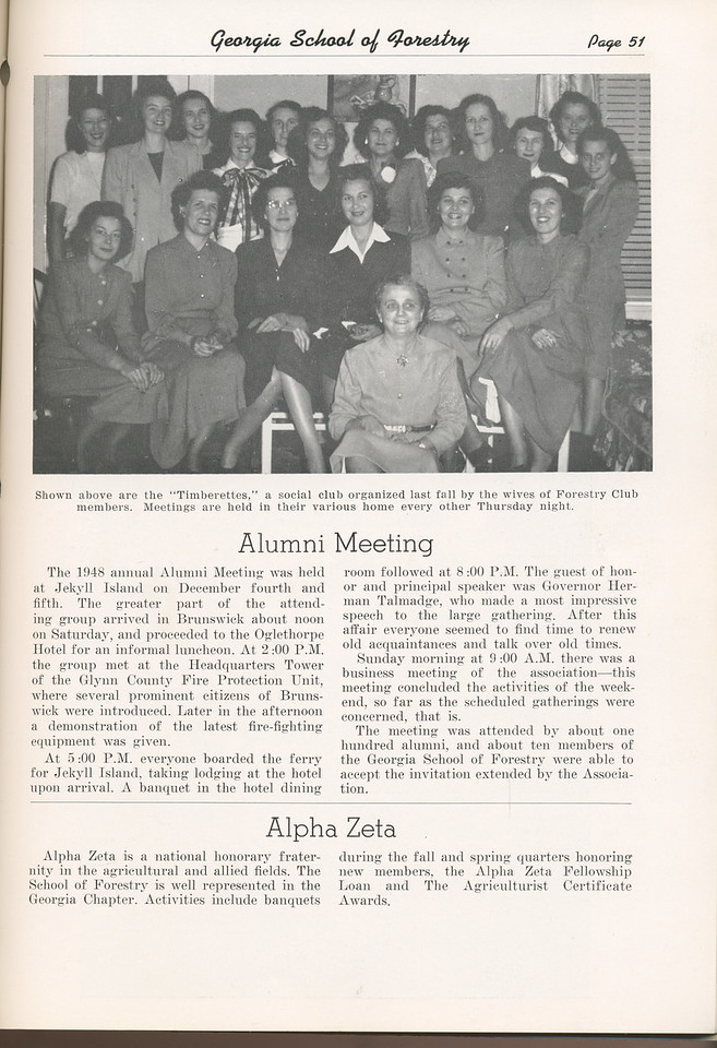 The Cypress Knee, 1949, The Timberettes, Alumni Meeting, Alpha Zeta, pg. 51