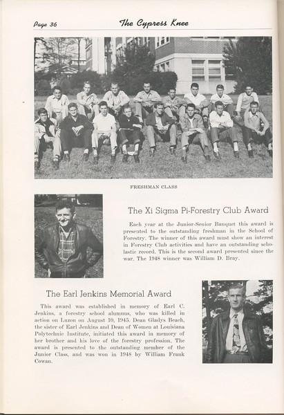 The Cypress Knee, 1949, Freshman Class, Xi Sigma Pi- Forestry Club Award, William D. Bray, Earl Jenkins Memorial Award, William Frank Cowan, pg. 36