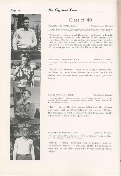 "The Cypress Knee, 1949, ""Class of '49"", Coleman D. Carr, Walter L. Chapman, James Coad, Stephen H. Conger, pg. 14"