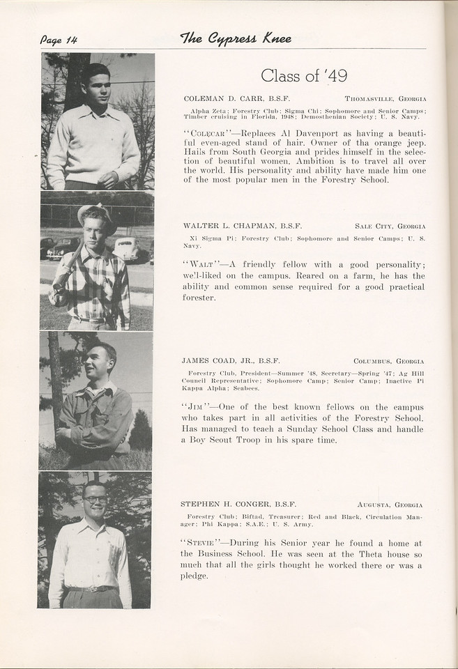 "The Cypress Knee, 1949, ""Class of '49"", Coleman D. Carr, Walter L. Chapman, James Coad, Stephen H. Conger, pg. 14"