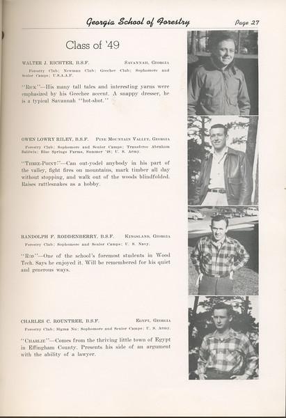 "The Cypress Knee, 1949, ""Class of '49"", Walter J. Richter, Owen Lowry Riley, Randolph F. Roddenberry, Charles C. Rountree, pg. 27"