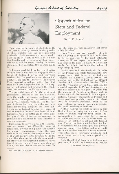 """The Cypress Knee, 1949, """"Opportunities for State and Federal Employment, C. F. Evans, pg. 39"""