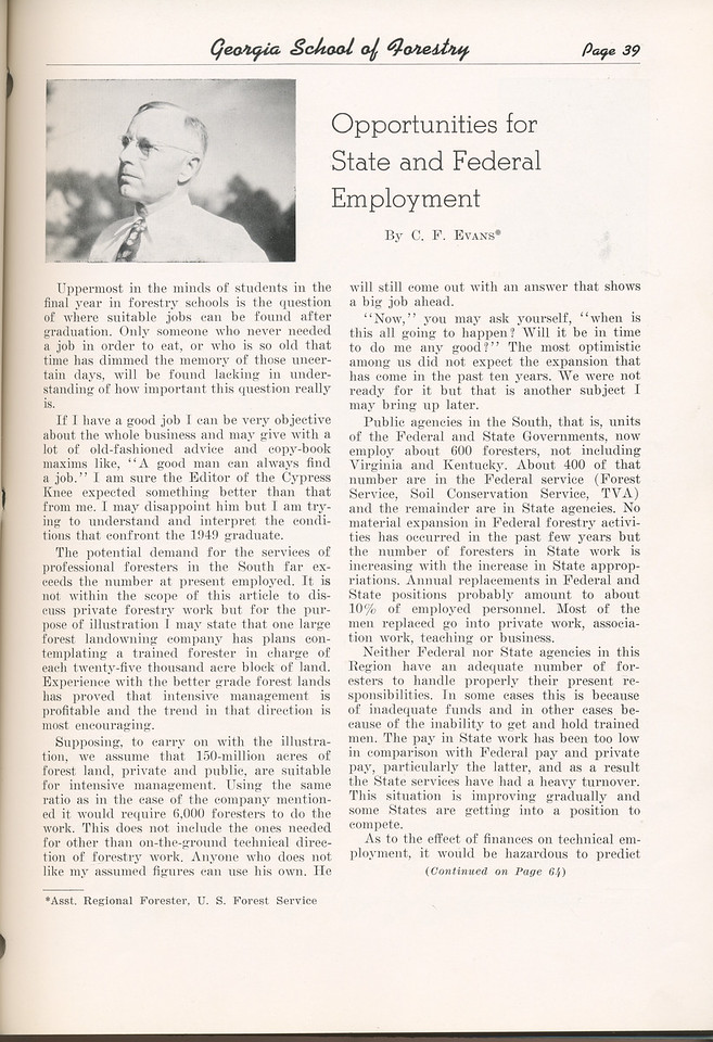 "The Cypress Knee, 1949, ""Opportunities for State and Federal Employment, C. F. Evans, pg. 39"