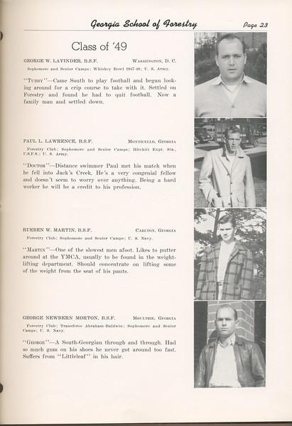 "The Cypress Knee, 1949, ""Class of '49"", George W. Lavinder, Paul L. Lawrence, Rueben W. Martin, George Newbern Morton, pg. 23"