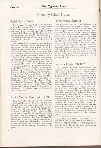 """The Cypress Knee, 1949, """"Forestry Club News"""", Field Day -1948, Junior-Senior Banquet- 1948, Timberettes' Supper, Forestry Club Initiation, pg. 46"""