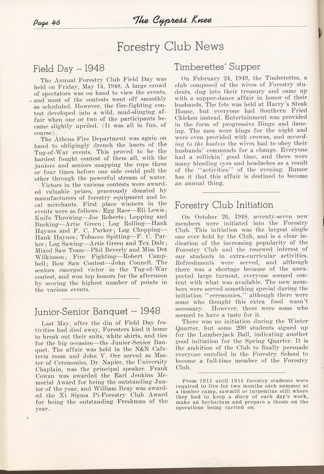 "The Cypress Knee, 1949, ""Forestry Club News"", Field Day -1948, Junior-Senior Banquet- 1948, Timberettes' Supper, Forestry Club Initiation, pg. 46"