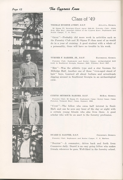 """The Cypress Knee, 1949, """"Class of '49"""", Thomas Eugene Avery, Turner F. Barber, Curtis Seymour Barnes, Duard O. Baxter, pg. 12"""
