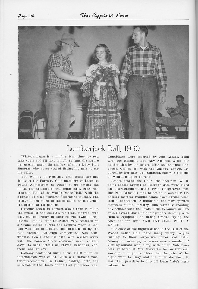 "The Cypress Knee, 1950, ""Lumberjack Ball, 1950"", pg. 38"