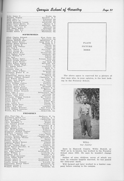The Cypress Knee, 1950, Student Roster, Willie Howell, pg. 51