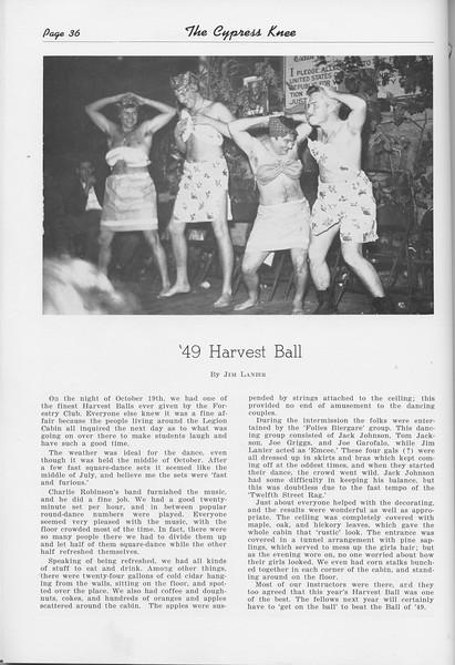 """The Cypress Knee, 1950, """"'49 Harvest Ball"""", Jim Lanier, pg. 36"""