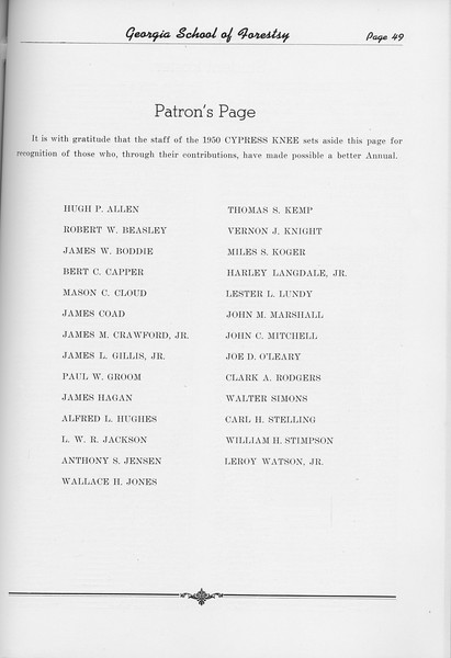 The Cypress Knee, 1950, Patron's Page, pg. 49