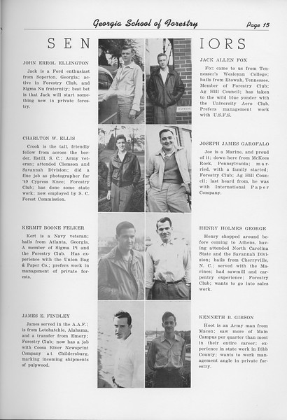 The Cypress Knee, 1950, Seniors, John Errol Ellingtn, Charlton W. Ellis, Kermit Boone Felker, James E. Findley, Jack Allen Fox, Joseph James Garofalo, Henry Holmes George, Kenneth B. Gibson, pg. 15