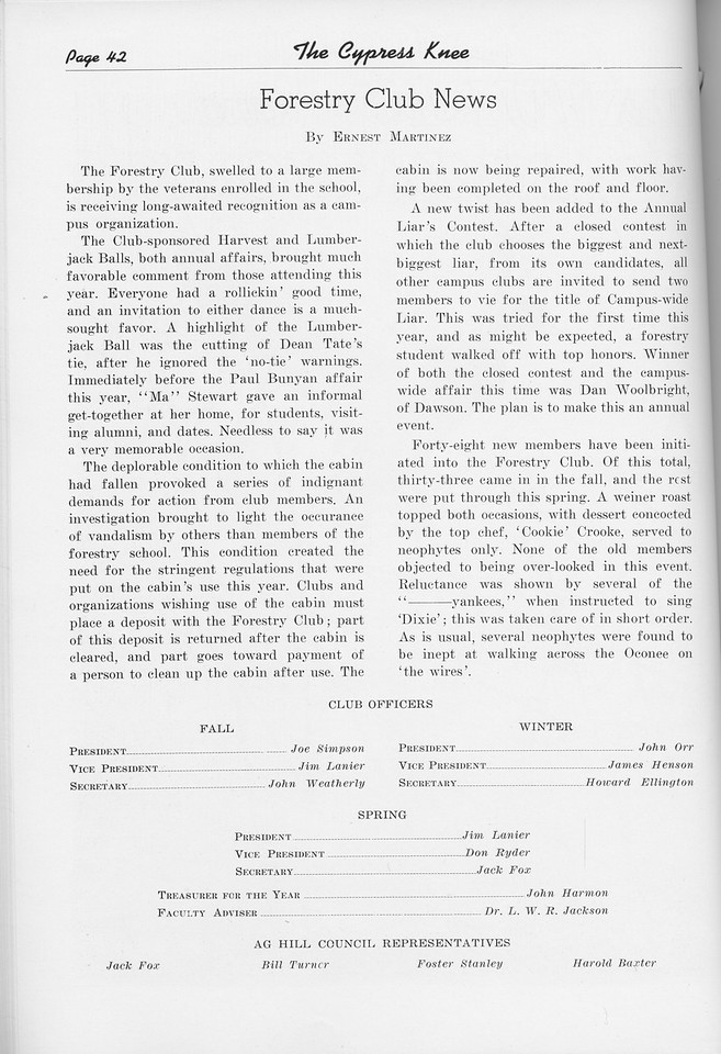 The Cypress Knee, 1950, Forestry Club News, pg. 42