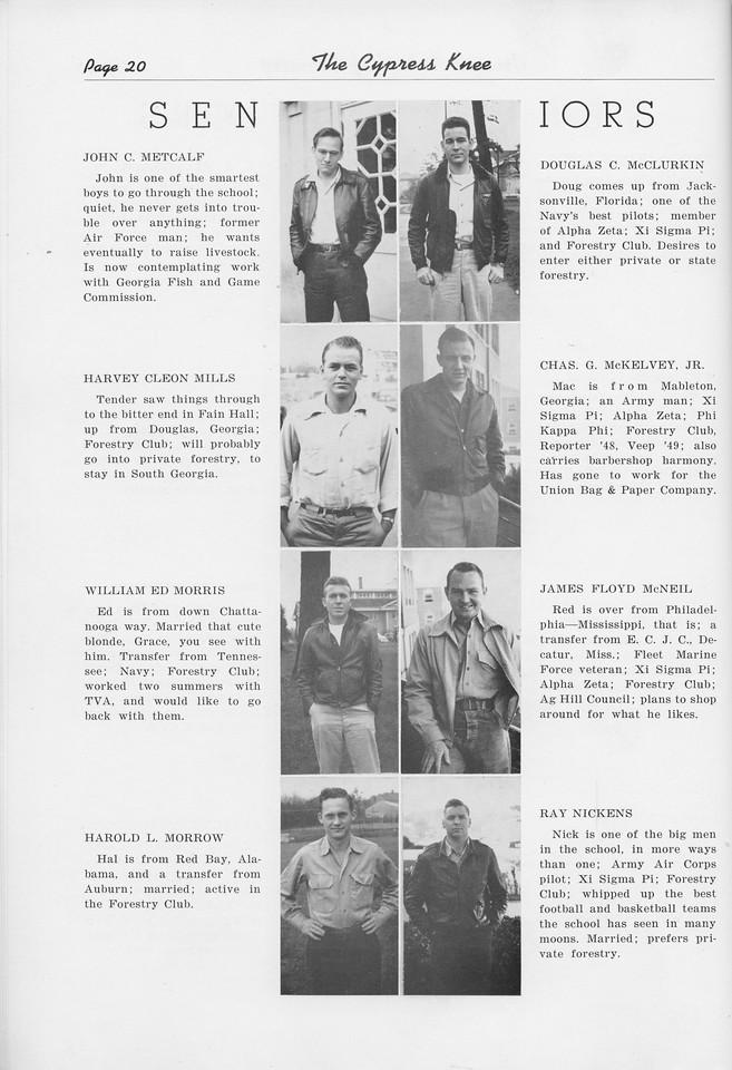 The Cypress Knee, 1950, Seniors, John C. Metcalf, Harvey Cleon Mills, William Ed. Morris, Harold L. Morrow, DOuglas C. McClurkin, Chas G. McKelvey, James Floyd McNeil, Ray Nickens, pg. 20