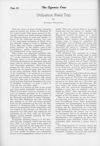 "The Cypress Knee, 1950, ""Utilization Field Trip"", Waverly Broadwell, pg. 32"